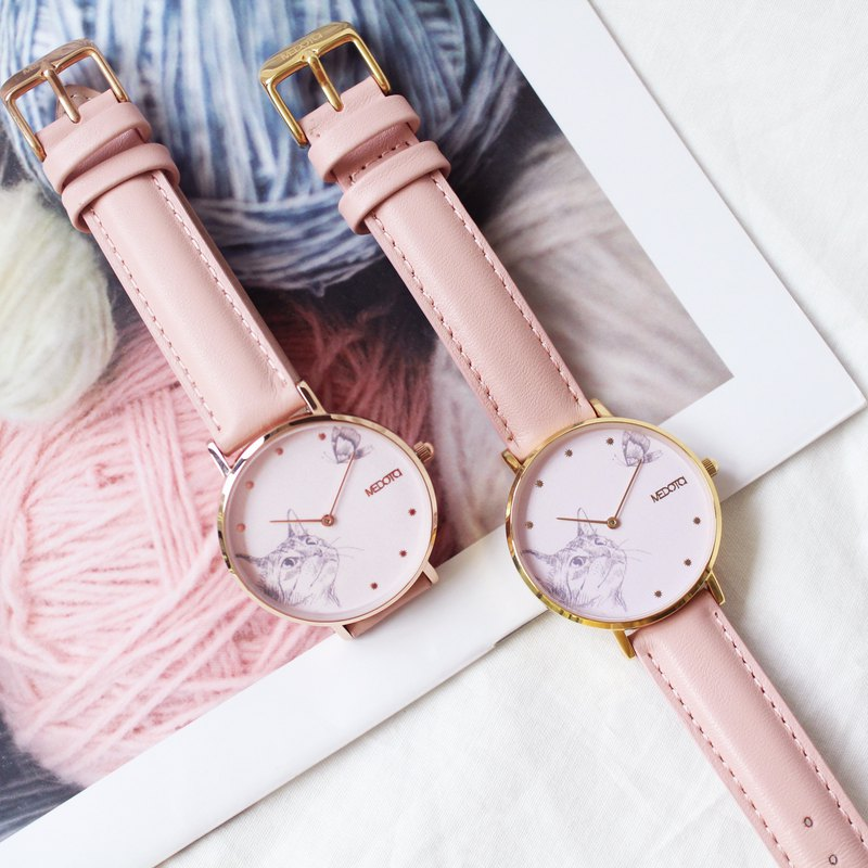 Love collection minimalist cat pink leather strap ladies watch / two color