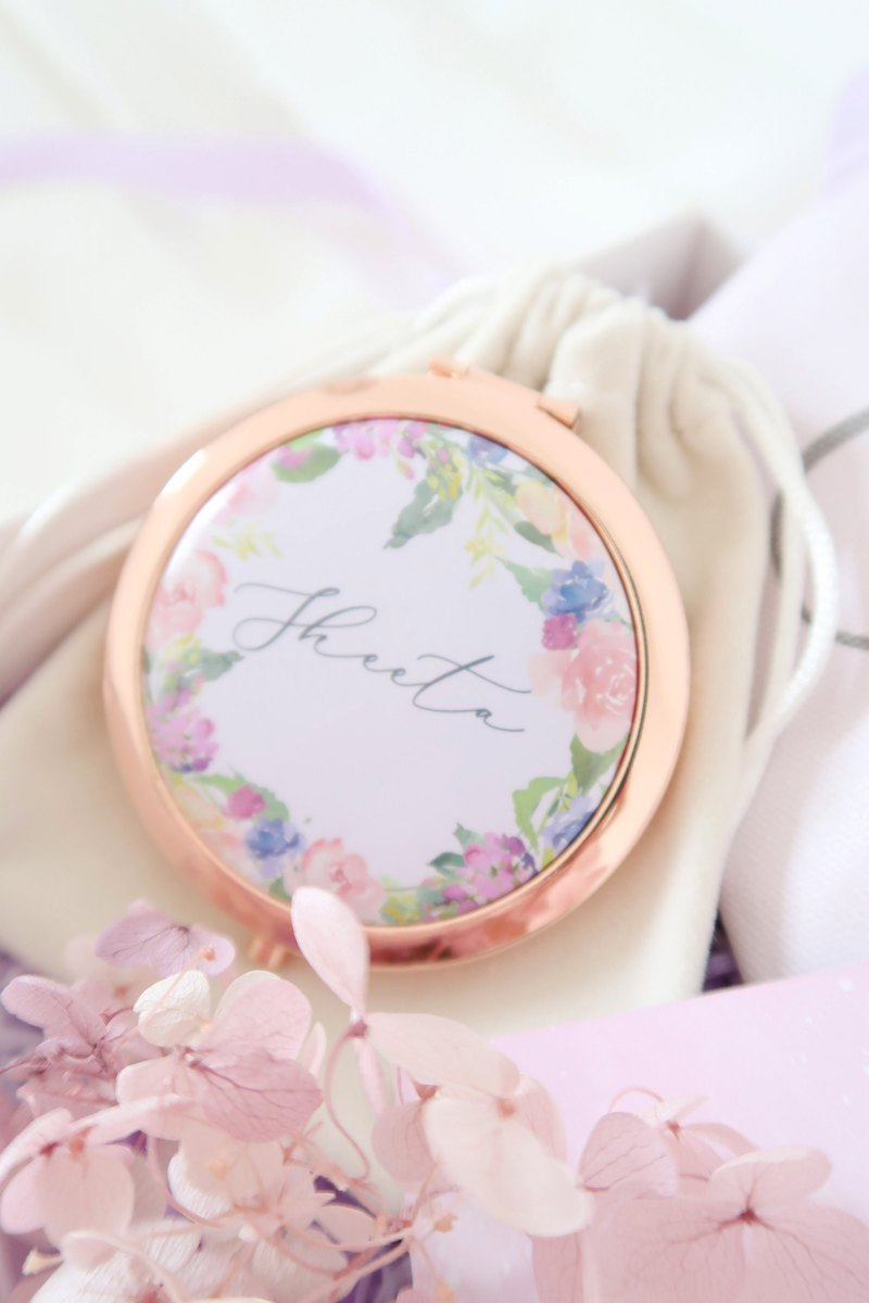 Personalized Rose gold Lilac mirror compact - Bridesmaid gifts Wedding gifts