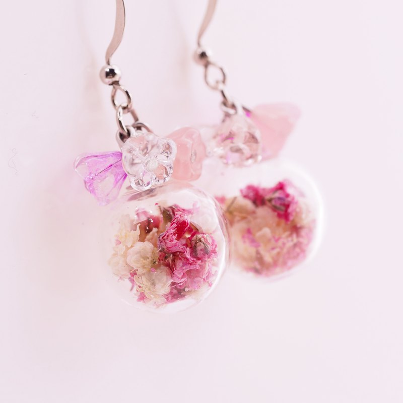 OMYWAY Handmade Dried Flower -  Artificial Glass Beads earrings 1.4