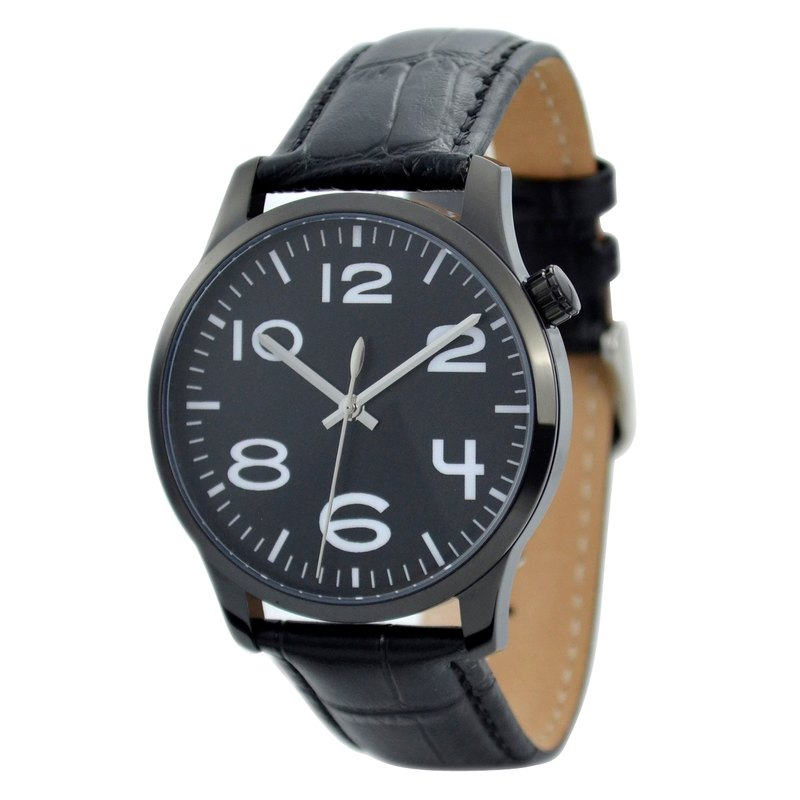 Men's Simple Watch Large Digital Blackface - Free Shipping Worldwide