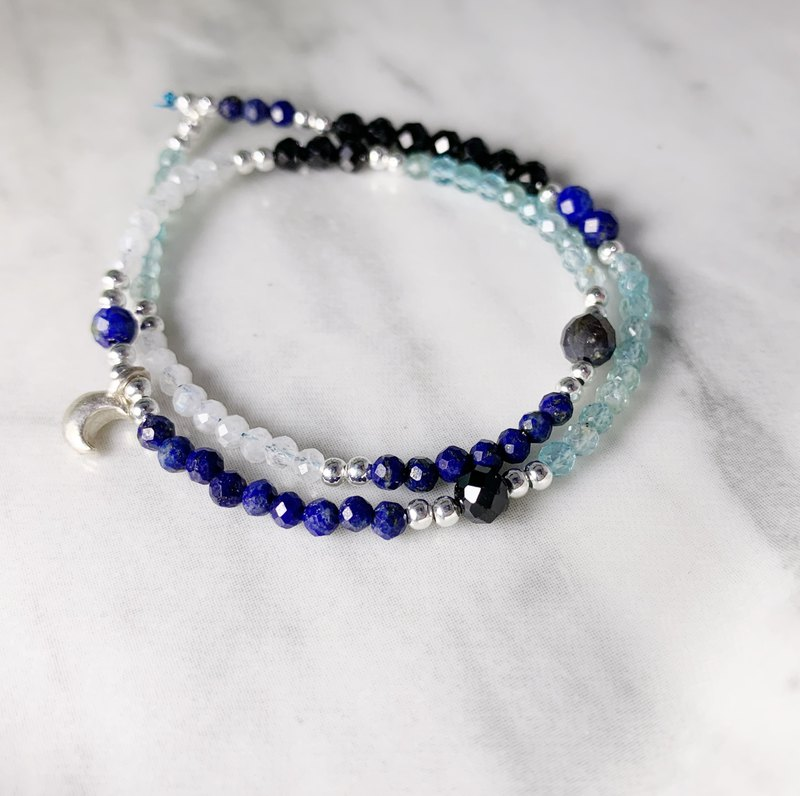MH sterling silver natural stone double circle series _ two sides _ lapis lazuli _ limited edition