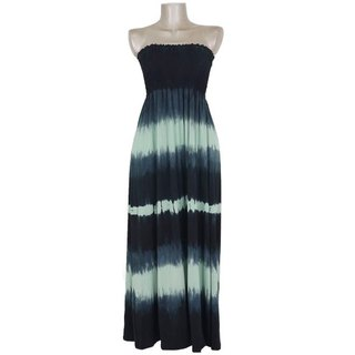 Tie Dye Strapless long dress <green>