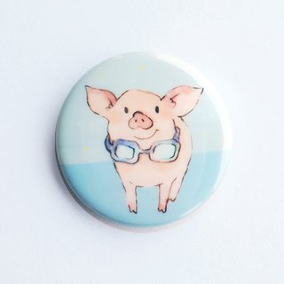 Want to go to the beach badge brooch / goggles pig