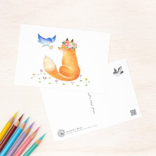"4 pieces set. Like a picture book. Postcard ""Friendly Fox and Bird"" PC-397"