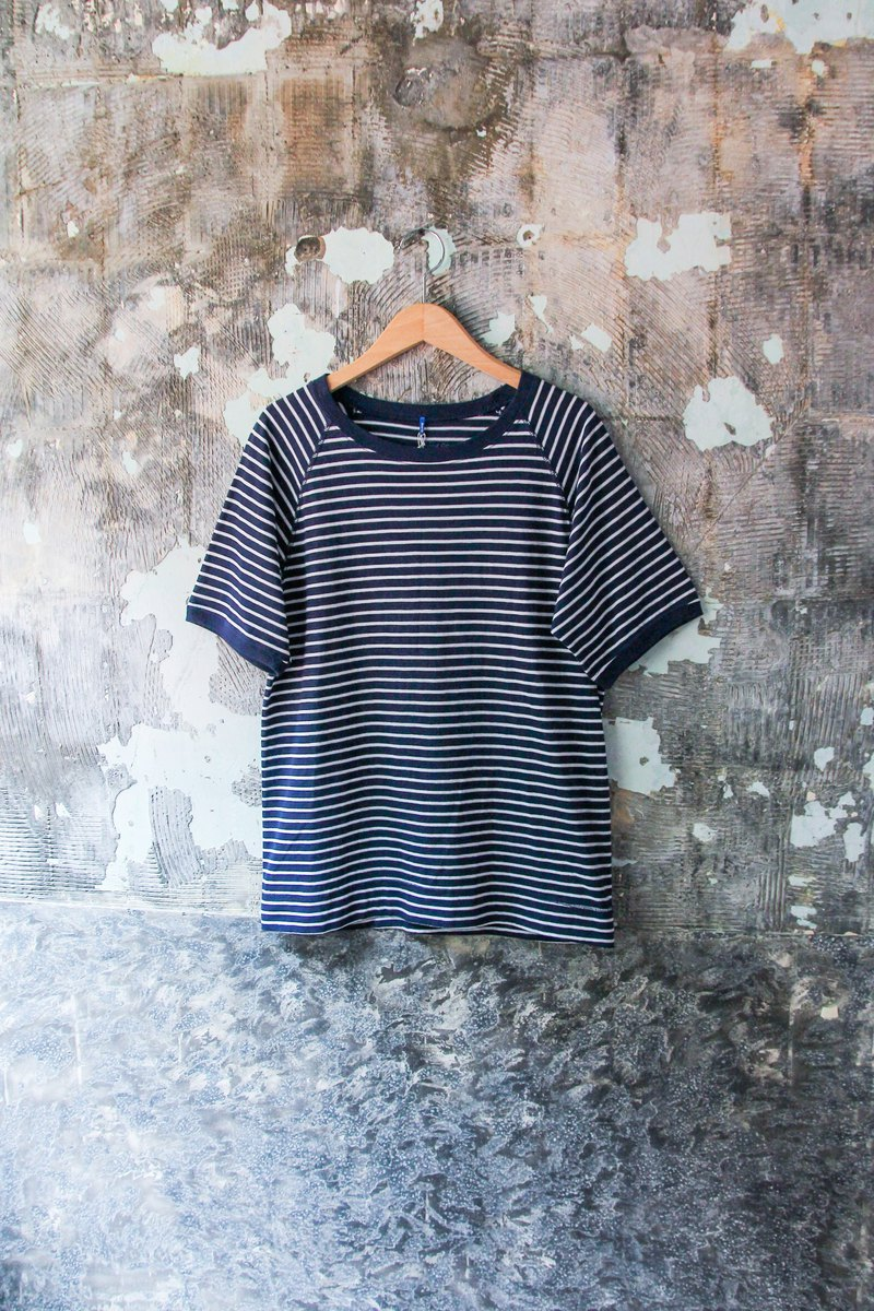 袅袅 department store - new GOOD ON dark blue horizontal cotton top