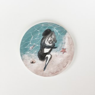 Fish Lady_ absorbent coaster on the beach