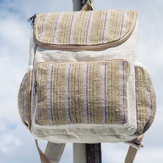 Cotton and linen stitching design backpack / shoulder bag / ethnic mountaineering bag / patchwork bag / computer bag - weaving desert