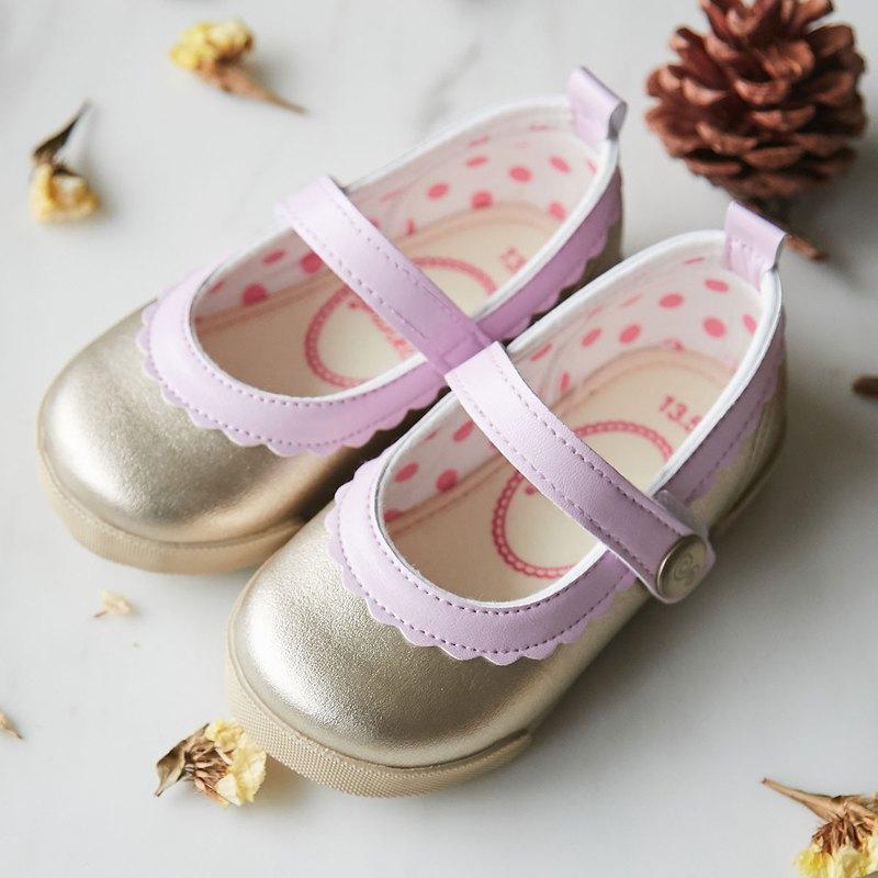 Dora金色粉紅花邊娃娃鞋