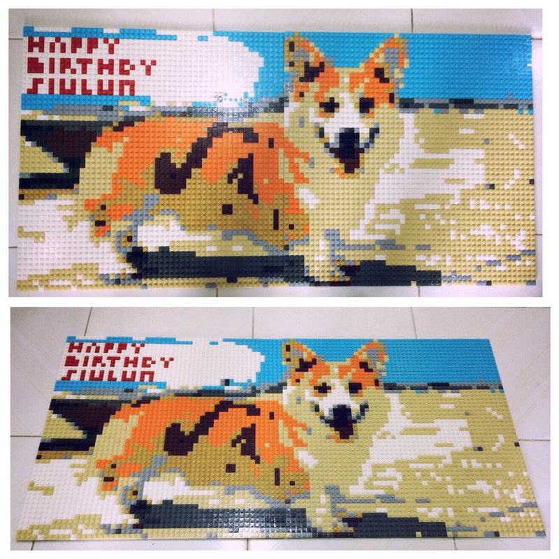 Customised Pet Portrait lego like brick mosaic 40x80cm