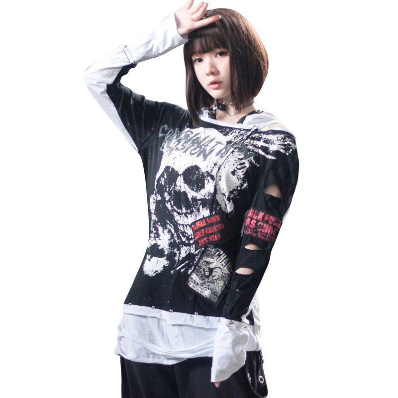 Punk heavy metal supernatural photo splashed blood distressed hoodie【JJ0023】