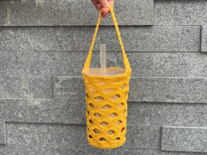 Hand-knitted / beverage bag yellow
