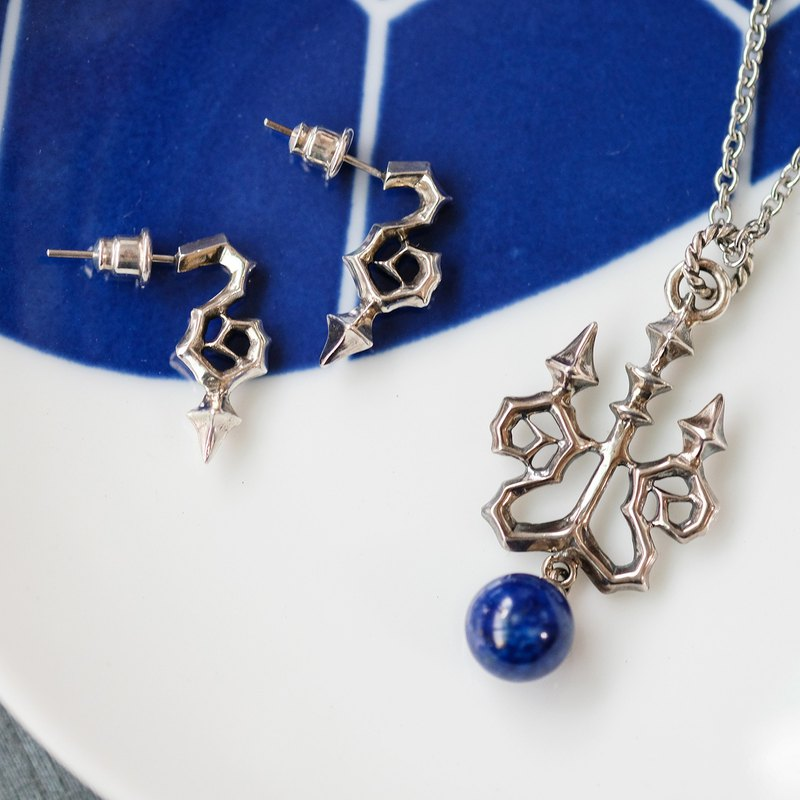 Goody Bag - Candlestick Necklace Earring Set 925 Sterling Silver Pearl Lapis