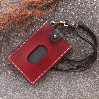 Pulling up the ID Card Holder Necklace Hanging - Vegetable Trunk Dark Red + Black MRT Card Holder Student Card