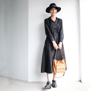 GT Denim Black Vintage Collar Shirt Dress