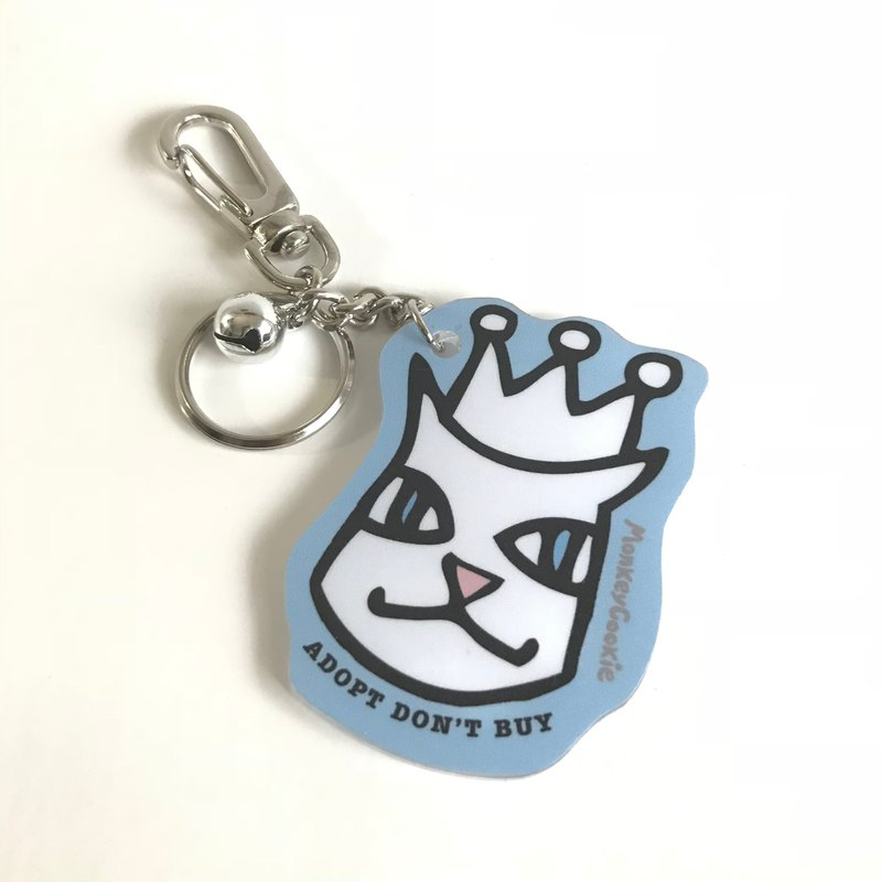 [Recommended 100 yuan exchange gift] Molly cat wearing a crown bell acrylic key ring blue with packaging