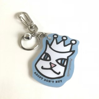 Molly cat wearing a crown bell acrylic key ring blue
