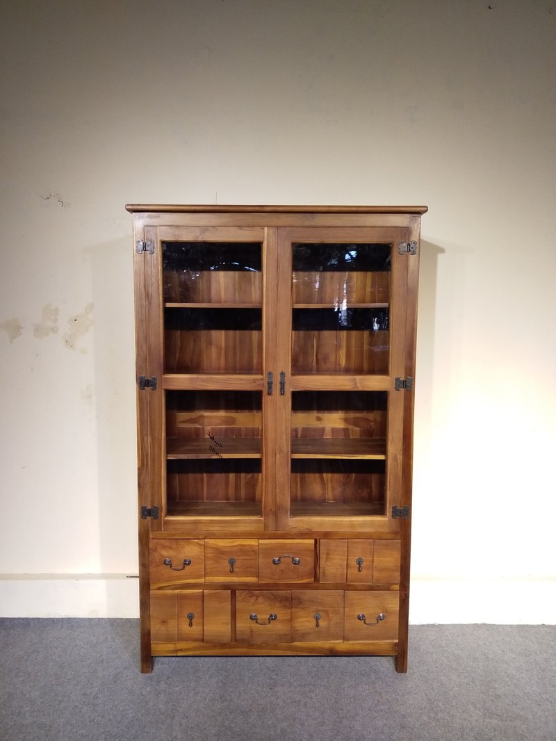 Teak wood glass bookcase