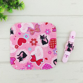 Eyelash cat. Double-sided cotton handkerchief + handkerchief clip (can increase the price of 40 embroidery name)