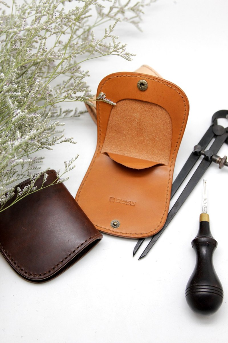 Custom-made wooden hand-stitched horseshoe coin purse