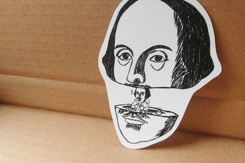 [The secret of Mr. Shakespeare] waterproof matte sticker