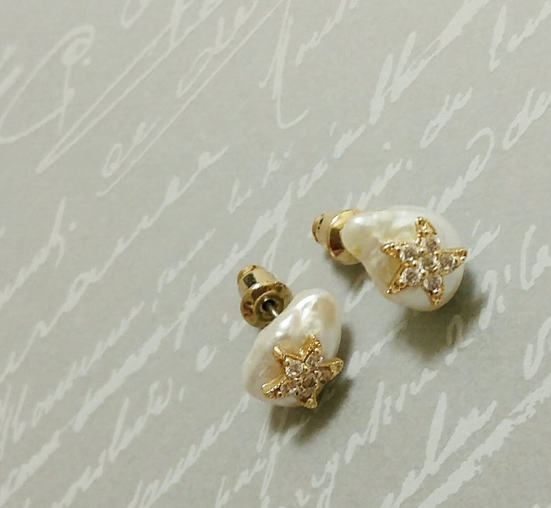 [Venus Series] Star Language* Natural Pearl Earrings Customized Light Jewelry
