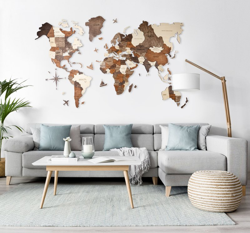 Home Decor, World Map, 3D Printed Map, Rustic Wall Decor, Wedding Gift