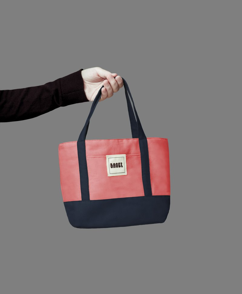Classic color matching small tote bag / tote bag / lunch bag / coral powder + Tibetan blue