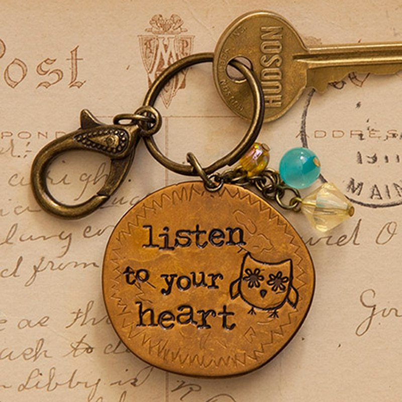 Copper key ring-listen to your heart∣KC106