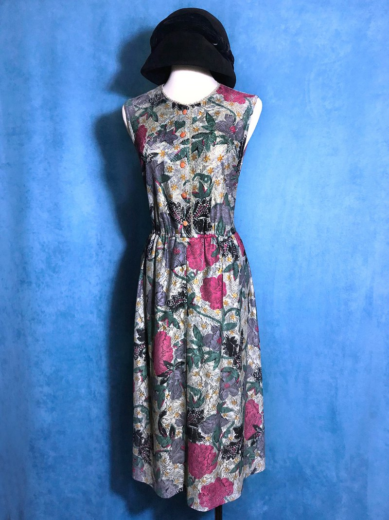 Textured flower sleeveless dress vintage / abroad brought back VINTAGE