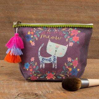 Wool fringed canvas cosmetic bag-Meow|BAG248