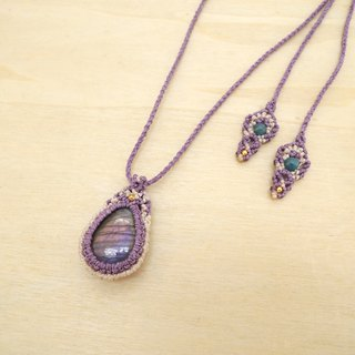Purple glittering / natural stone x Brazilian silk wax line necklace