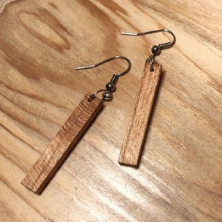 Past and present - old wooden drooping long earrings