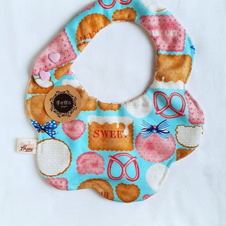 Biscuits - Pale Blue - Thick Cotton & Six Layered Yarn with Spiral Shape Bib. Saliva Towel. 100% Cotton