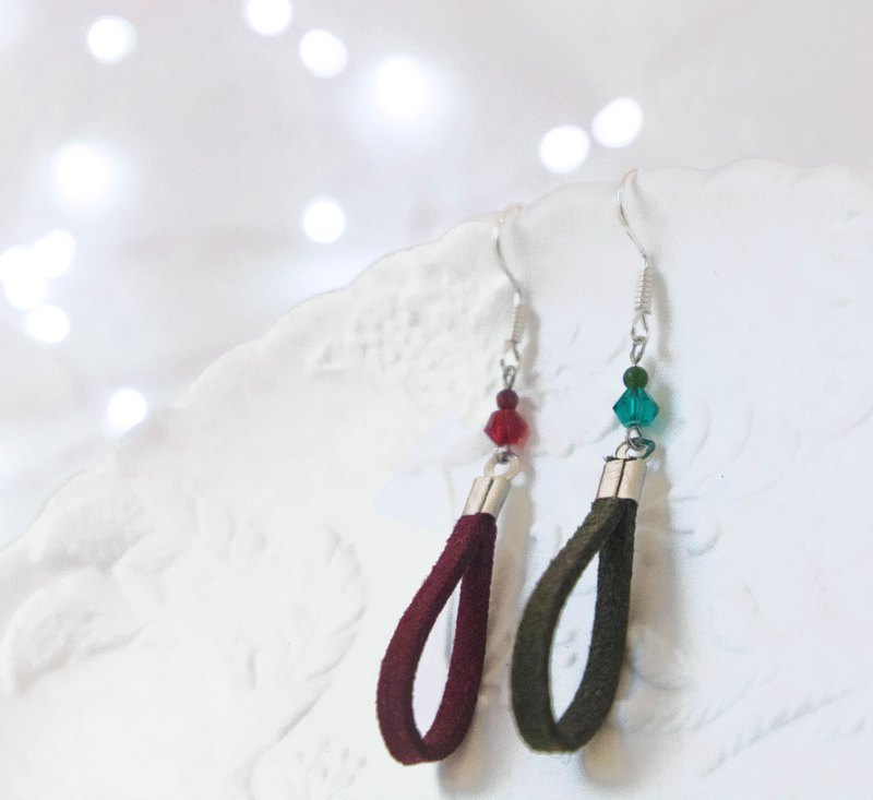 Christmas Gift / Phased - Glass Beaded Suede Brass Earrings