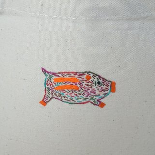 "the oriental zodiac Tote bag with hand embroidery ""boar"" [order-receiving production]"