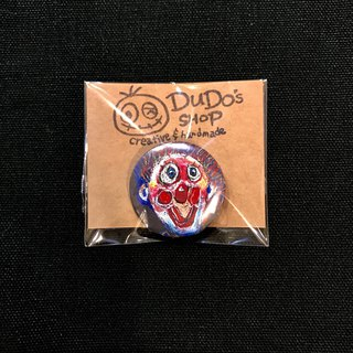 Hand drawn illustration small badge pin badge | clown