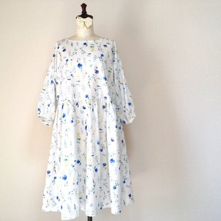 Floral Pattern Gather One Piece White Flower