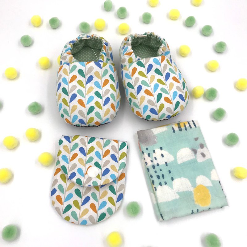 Geometric Water Drops - Mi Yue Gift Box (Toddler Shoes + Ping An Fu Bag + Handkerchief)