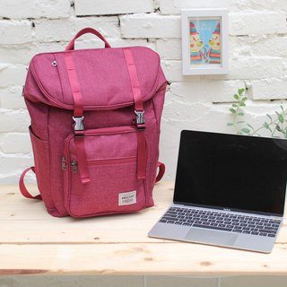Double buckle large capacity backpack (14 吋 laptop OK) hemp red _100398