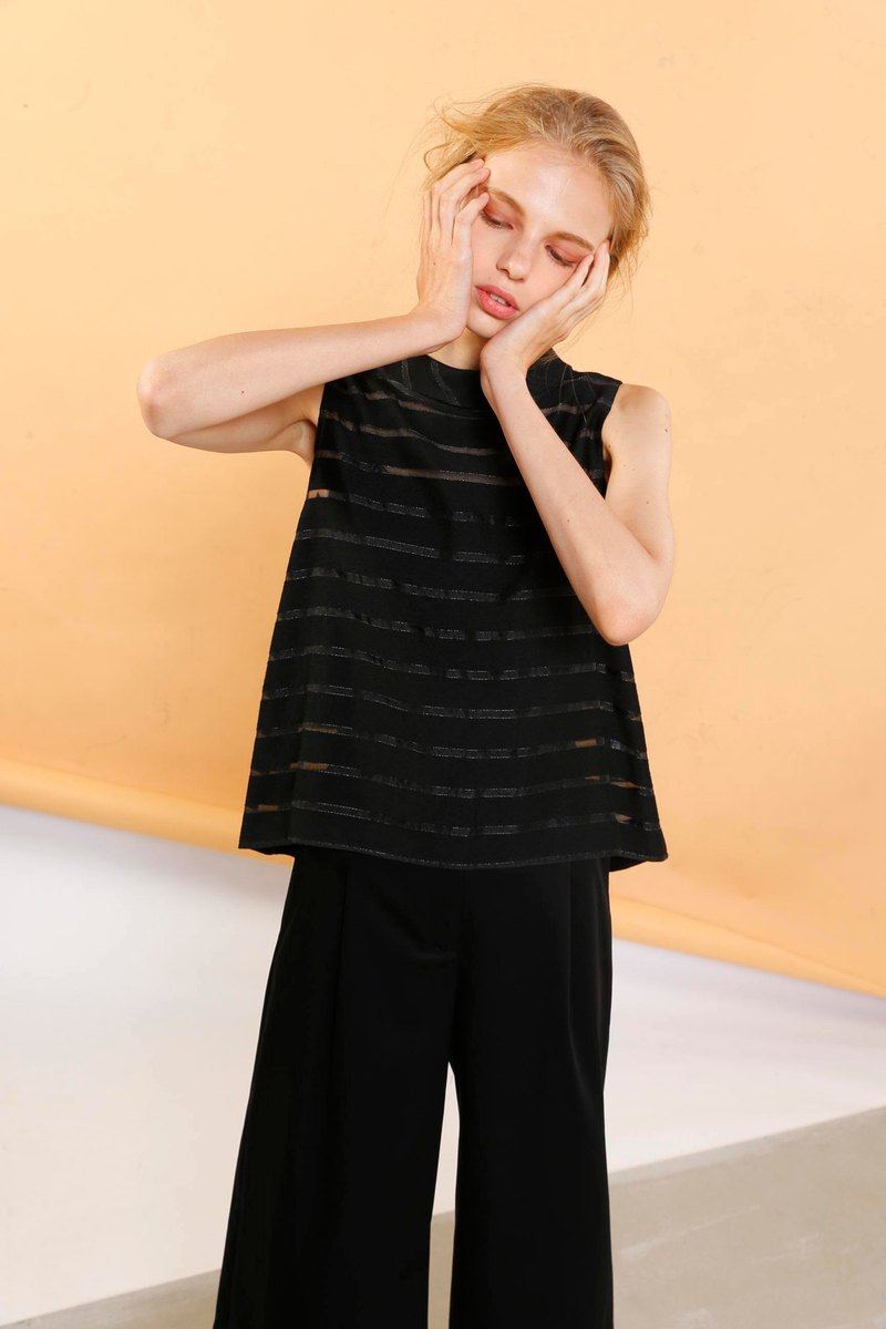 The jacquard stripe organza top