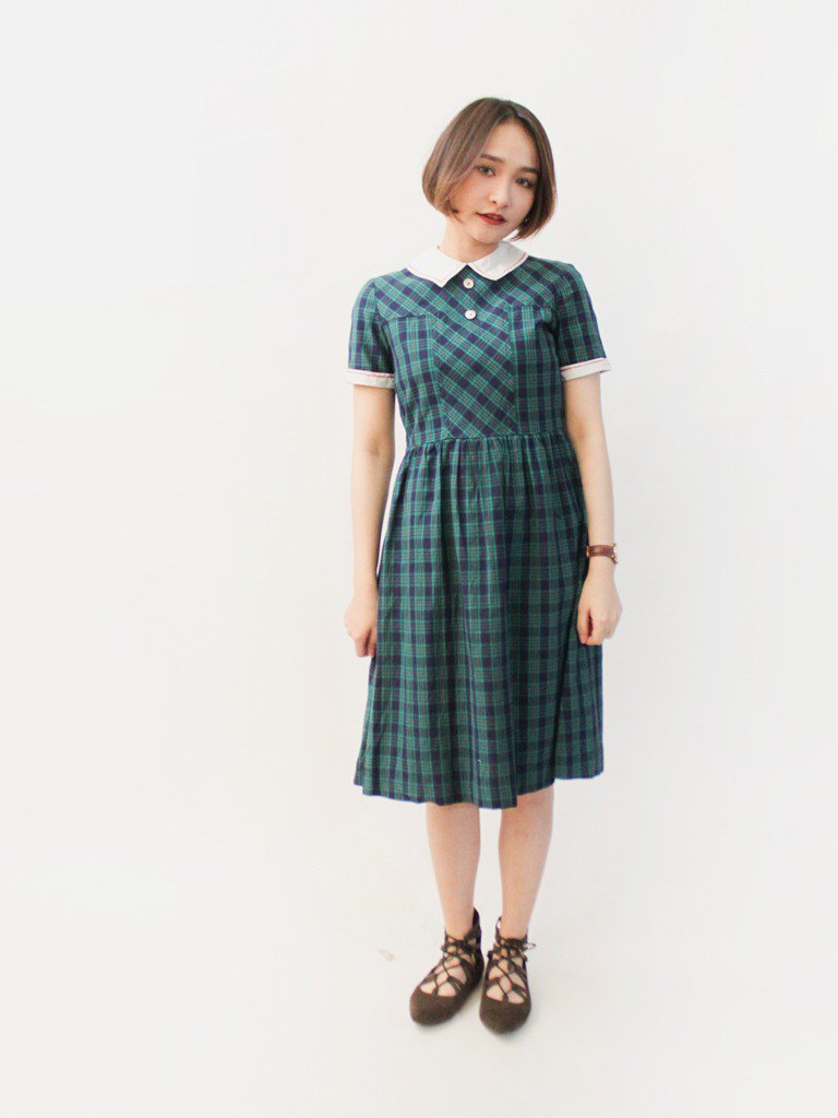 Retro summer style college blue blue green check cotton short-sleeved vintage dress