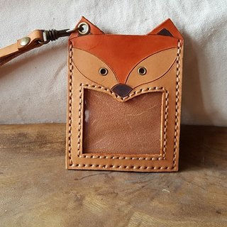 Naughty fox pure cow leather identification card holder - back can be lettering (birthday, lover gift)
