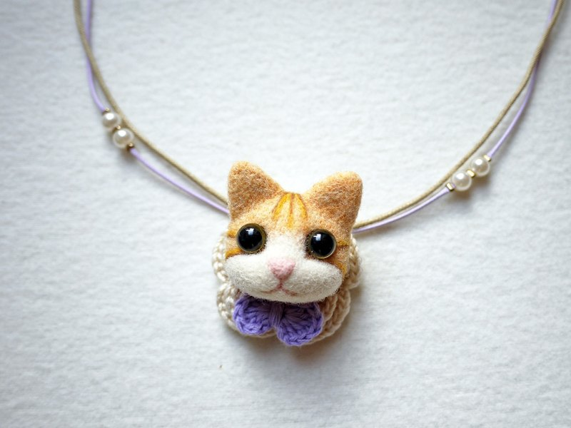 Petwoolfelt - Needle-felted orange tabby cat 2-ways accessories(necklace+brooch)