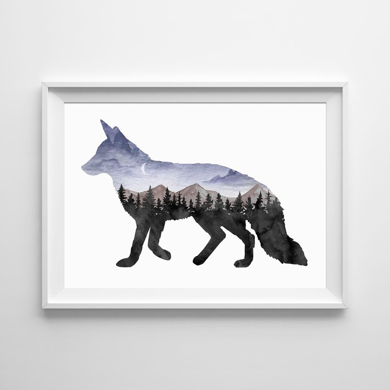 Forest fox print customizable posters