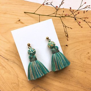 Retro Emerald Print Tassel Earrings / Ear Clip