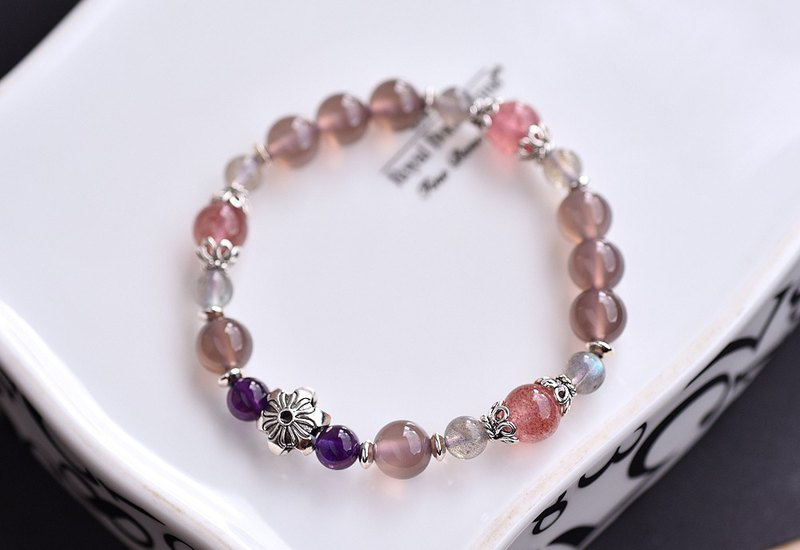 Smoked Purple Chalcedony + Amethyst + Strawberry Crystal + Labradorite Sterling Silver Flower Bracelet