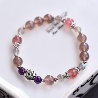Purple Chalcedony + Amethyst + Strawberry Crystal + Labradorite Silver Flower Bracelet