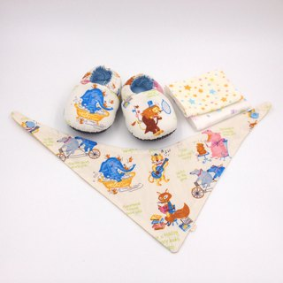 Happy Animals - Miyue Baby Gift Box (toddler shoes / baby shoes / baby shoes + 2 handkerchief + scarf)
