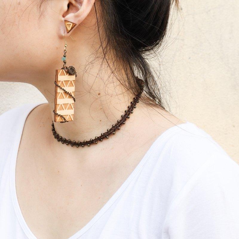 木製幾何圖騰-古銅編織-垂墜式耳環