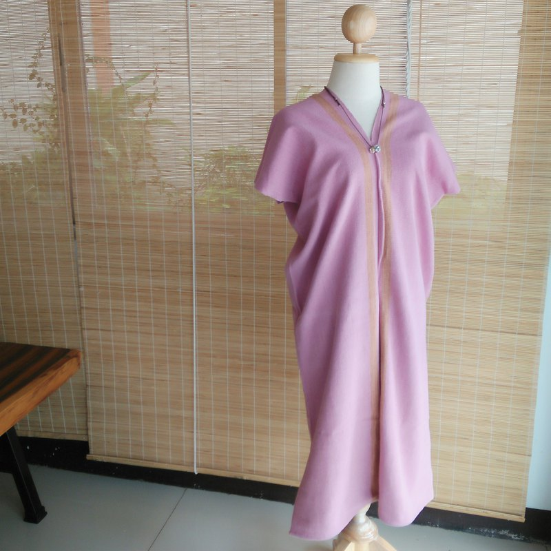 Thai plant dyed & hand-woven dress / pink / line / cotton